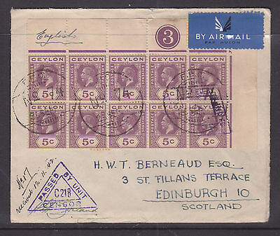 "Ceylon 1942 Censor Cover To Scotland   ""wow""!!!!!! Very Nice!!!!"
