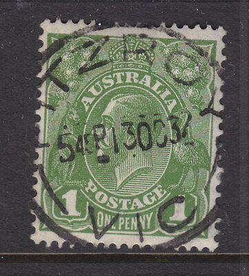 POSTMARK:   FITZROY  VIC    ON 1d GREEN  KGV , VERY FINE.