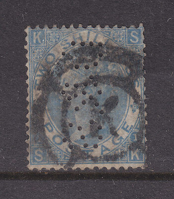 GREAT BRITAIN   PERFINS:  2/ BLUE QV SG 120b PLATE 1 FERF D&S FROM THE BACK USED