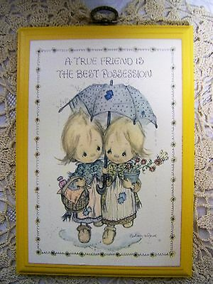 BETSEY CLARK~TRUE FRIEND IS THE BEST POSSESSION~ Hallmark Springbok WOOD PLAQUE