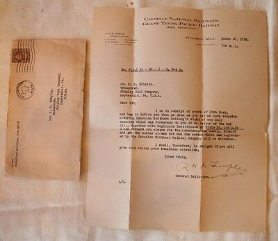 Canadian National Grand Trunk Pacific Railway Letter Meyersdale Pa Shipley Coal