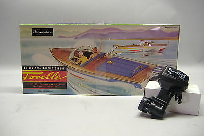 Aeronaut RC Ship Trout 3090 Sport boat Wood building set Outboard motor Glue New