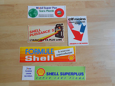 5 autocollants / stickers SHELL, ELF, MOBIL