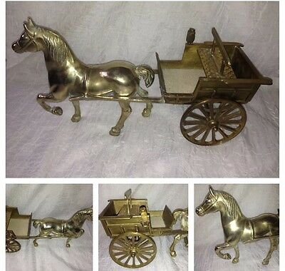 Solid Brass Large Horse Statue / Figurine And Cart Ornament 3kg