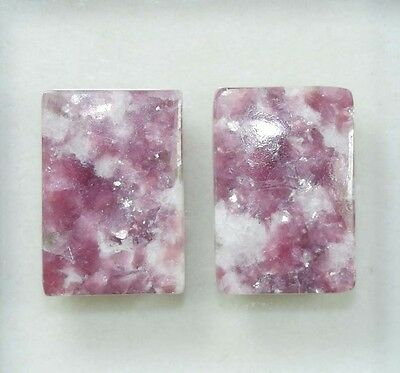 Pair  34.00 Cts. 100 % Natural Lepidolite Untreated Cushion Cab Loose Gemstones
