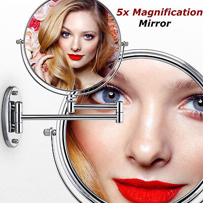 8'' Wall Mounted Extending Folding Double Side 5x Magnification Make up Mirror