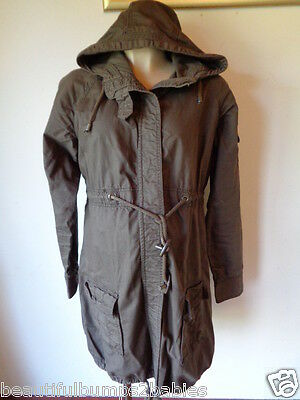 Mamas & Papas Maternity Grey Cotton Parka Coat Mac Jacket Size 8