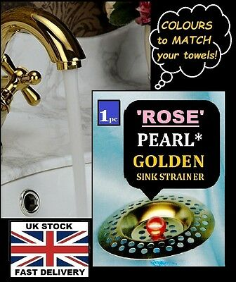 GOLDEN 'ROSE' (1pc.) Pearly Trim ~ Sink Outlet Cover ~ Bathroom ~ NEW !