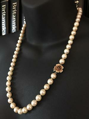 VINTAGE 1960's 14CT GOLD GARNET SOUTH SEA SALTWATER PEARL NECKLACE - BOXED - 581