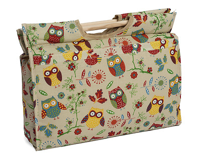 Knitting & Craft Bag Zip Close with Wooden Handles Owl Design 11x42x31½cm
