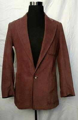 Lee 40 R Brown Soft Denim Two Button Fitted Wide Lapel Blazer Sports Coat