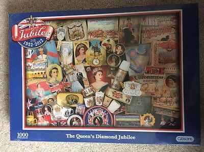 Brand New And Sealed Gibsons 1000 Piece Jigsaw Puzzle The Queens Diamond Jubilee