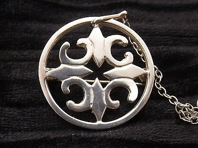 Sterling Silver Circular Brooch by ORTAK  ST MAGNUS CROSS  Scottish