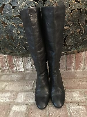 STEVE MADDEN Women's SZ10 Meteour Black Leather Outside Zip Wedge Boots
