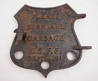 USFS Cast Iron Furnace Door Badge Shaped (A1R) Sign Forest Service Please Burn
