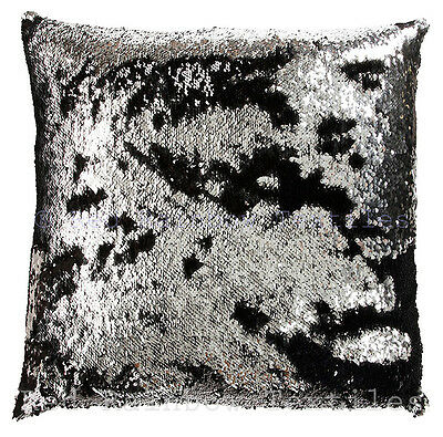 Mermaid Magic Sequin Black & Silver 18 inch Sparkle Bling Cushion Cover SALE