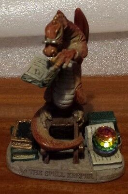 Mystic Legends The Spell Keeper Pewter Dragon Figure Hand Painted With Crystal