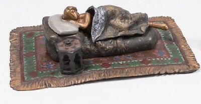 Cold painted Orientalist Vienna Bronze Nude on Rug Carpet Sculpture Signed