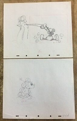 1936 Mickey's Rival 2 Production Drawings With Cert