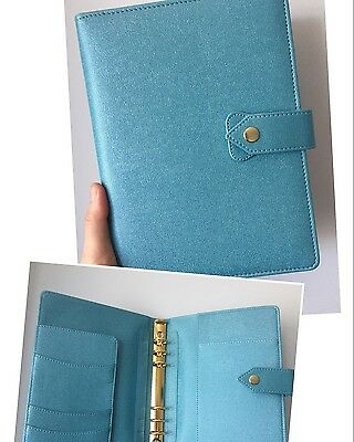 Star Blue planner organizer A5 large desk size PU leather NEW 6 gold ring