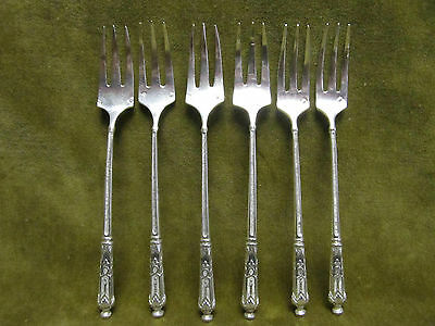 antique french sterling silver (950) 6 pastry forks russian st A Frenais