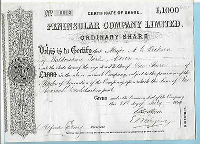 Peninsular Company Ltd. certificate for ordinary shares dated 1864.