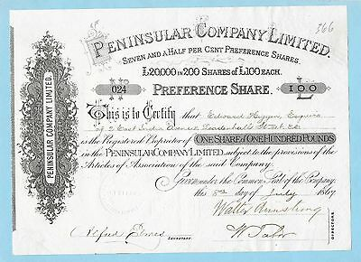 Peninsular Company Ltd. certificate for preference shares dated 1867.