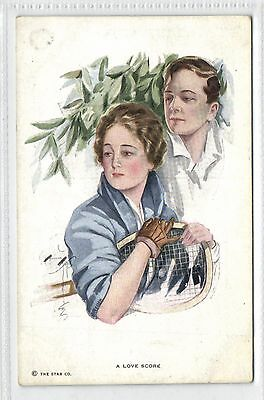Tennis,Mans and Woman,A Love Score,Signed by Harrison Fisher,Unused,Old Postcard