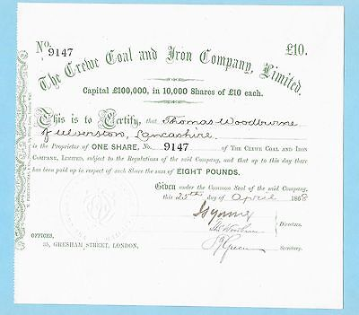 Crewe Coal and Iron Company Ltd., share certificate dated 1868.