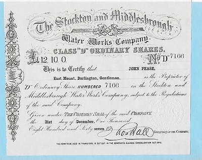 Stockton and Middlesbrough Water Works, certificate for a 'D' share, dated 1867.