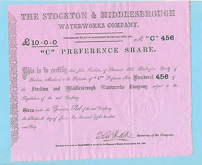 Stockton & Middlesbrough Waterworks Co., C share certificate dated 1860.