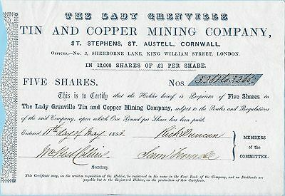 Lady Grenville Tin and Copper Mining Company, share certificate, dated 1853.