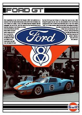 Ford GT40 *POSTER* Gulf Car American Muscle Sports Auto RACE CAR V8 Power GT
