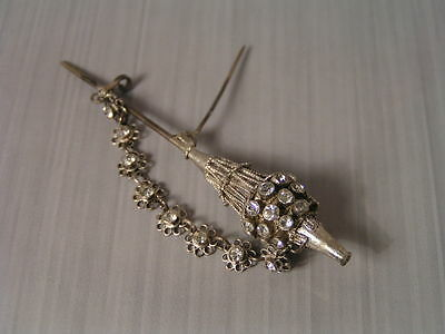 Vintage Double Stick Sterling Silver Crystal Filigree Pin Brooch