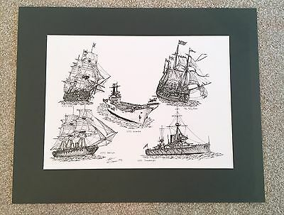 Mounted Print, HMS Victory Warrior Invincible Dreadnought Mary Rose Royal Navy