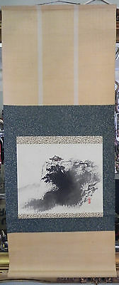 Antique Vtg Japanese Hanging Wall Scroll Kakejiku Mountain Pagoda Scene Signed