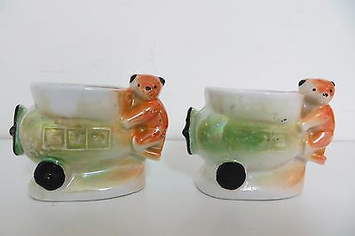 Pair of Teddy Bear and Plane Egg Cups Vintage Ceramic, Unique Design airplane