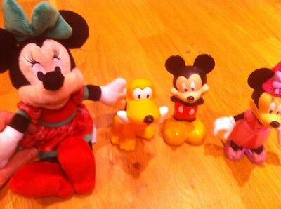 Bundle Of Disney Toys One New Minnie Mouse Mickey Mouse Pluto Plush Soft Hard
