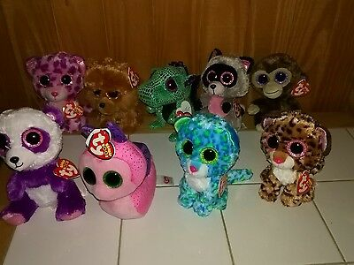 Beanie Boo lot Sparkle eyes - Patches, Rocco, Cinder, Scooter, Glamour +