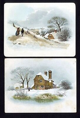2 SNOW SCENE Victorian Greeting Cards 1880's - Homes Cottages in Country