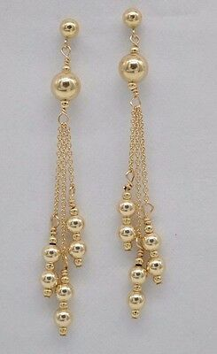 #BE198 New 14K Solid Yellow Gold Round Triple Bead Drop/Dangle Earrings