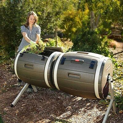 Dual Composter 189.2 Litre Lifetime Two 50 Gallon Tumblers Compost Maker New