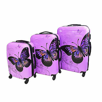 Hard Shell 4 Wheel Suitcase PC Luggage Trolley Case Cabin Hand Butterfly Purple