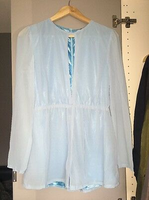 Women's Missguided Blue Chiffon Keyhole Front Long sleeve Playsuit Size 8 NEW