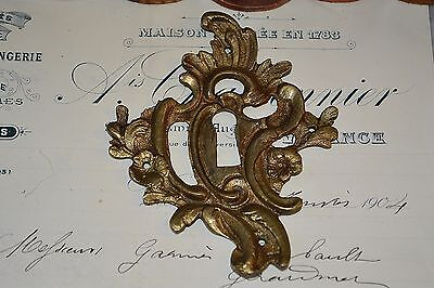 Antique French Escutcheon Bronze Floral Keyhole