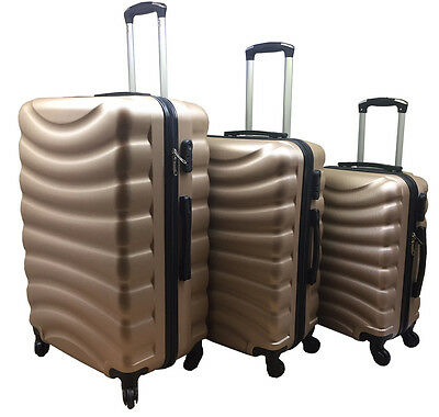 "New Gold 20"" 24"" 28"" Hard Shell Cabin Suitcase Case 4 Wheel Luggage Lightweight"