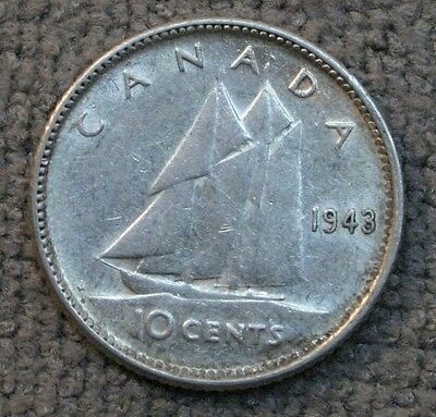 1943 Canada 10 Cents High Grade 10C Silver Coin