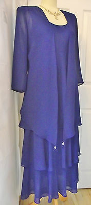Mother of the bride outfit blue dress suit 14 16 UK Designer CATTIVA New York