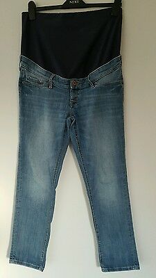 H&M Mama Skinny High Rib Cropped Maternity Jeans Size 14. Over Bump. GUC.