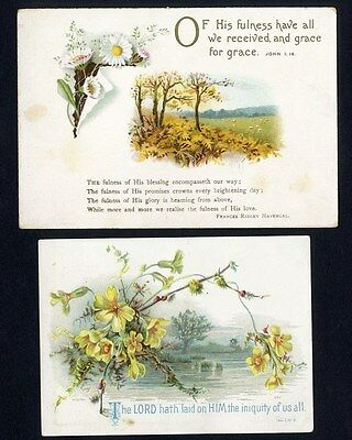 Two BIBLE VERSE Religious Victorian Cards 1880's - Country DAISIES Stream